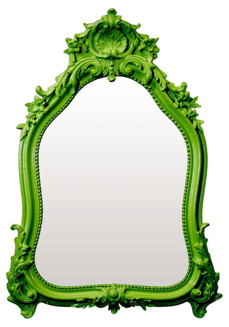 Shell Crown Mirror, Green