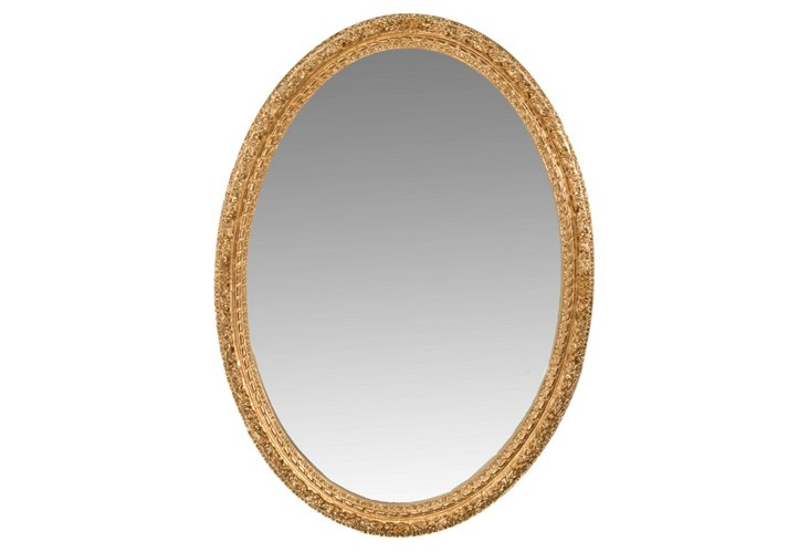 Laurel Leaf Oval Mirror, Gold