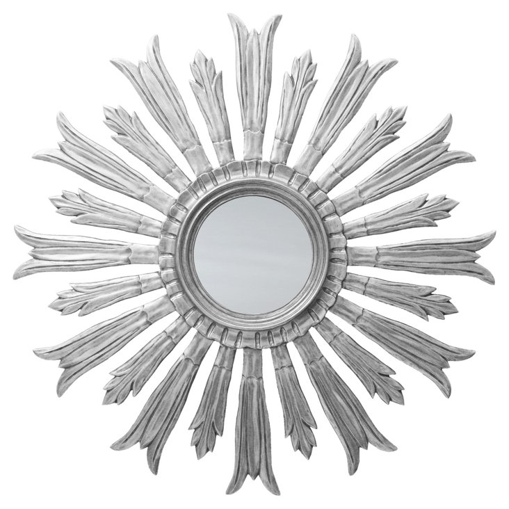 Gloria Sunburst Mirror, Silver