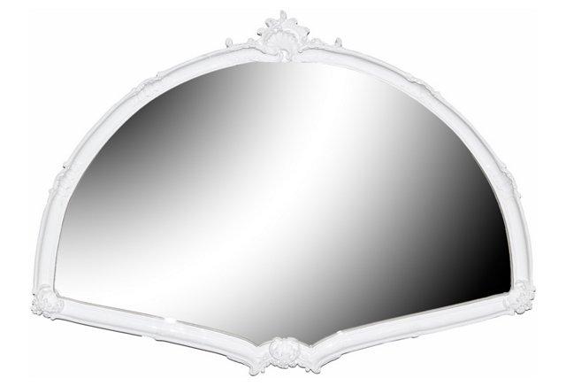 Large Fan Mirror, White
