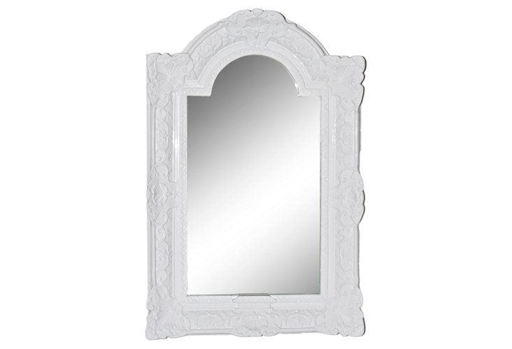 Louis XIV Arched-Top Mirror, White