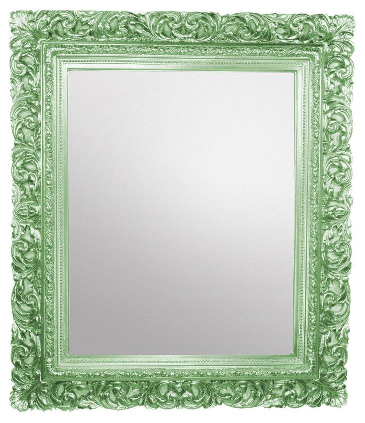 Carved Leaf Mirror, Autumn Green