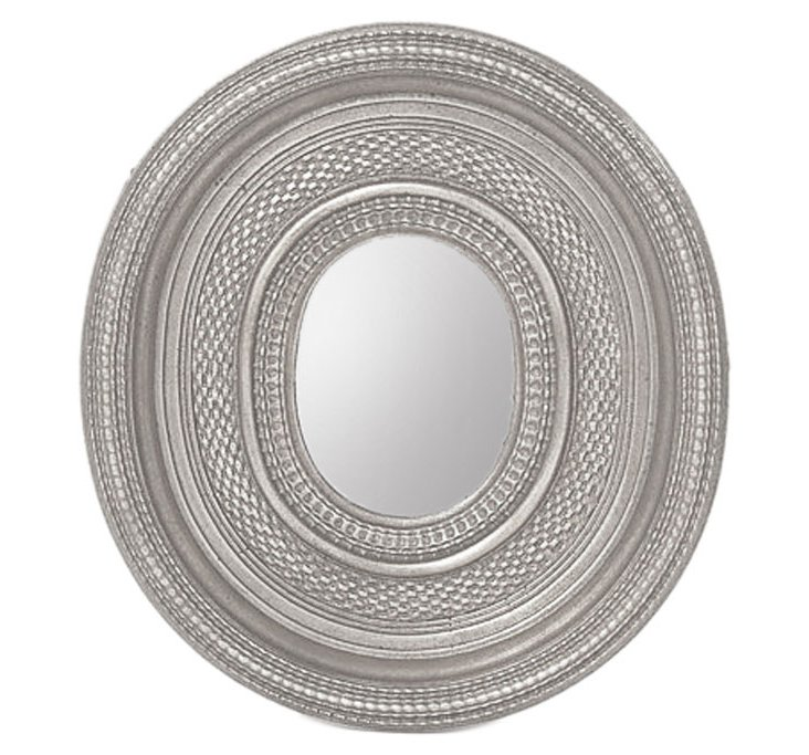 Dutch Oval Ripple Mirror, Silver