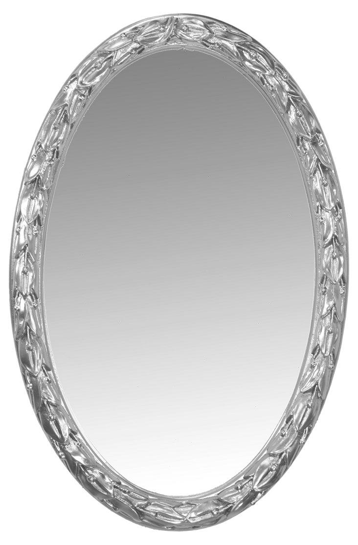 Laurel Leaf Oval Mirror, Silver