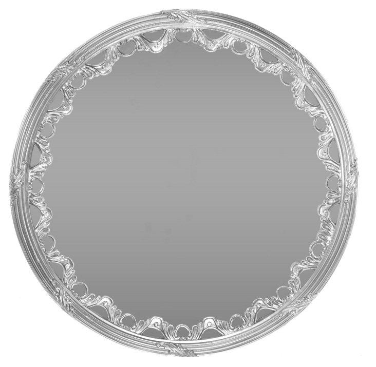 Scalloped Round Mirror, Silver