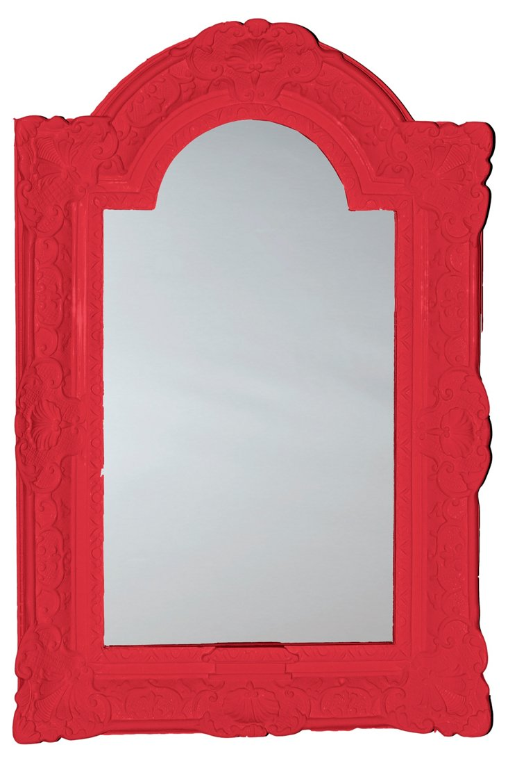 Louis XIV Arched Top Mirror, Red