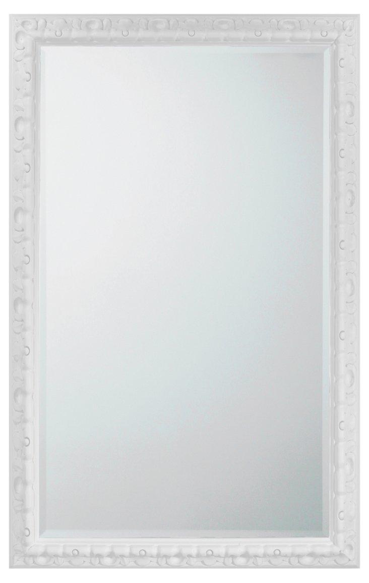 Spanish Carved Mirror, White