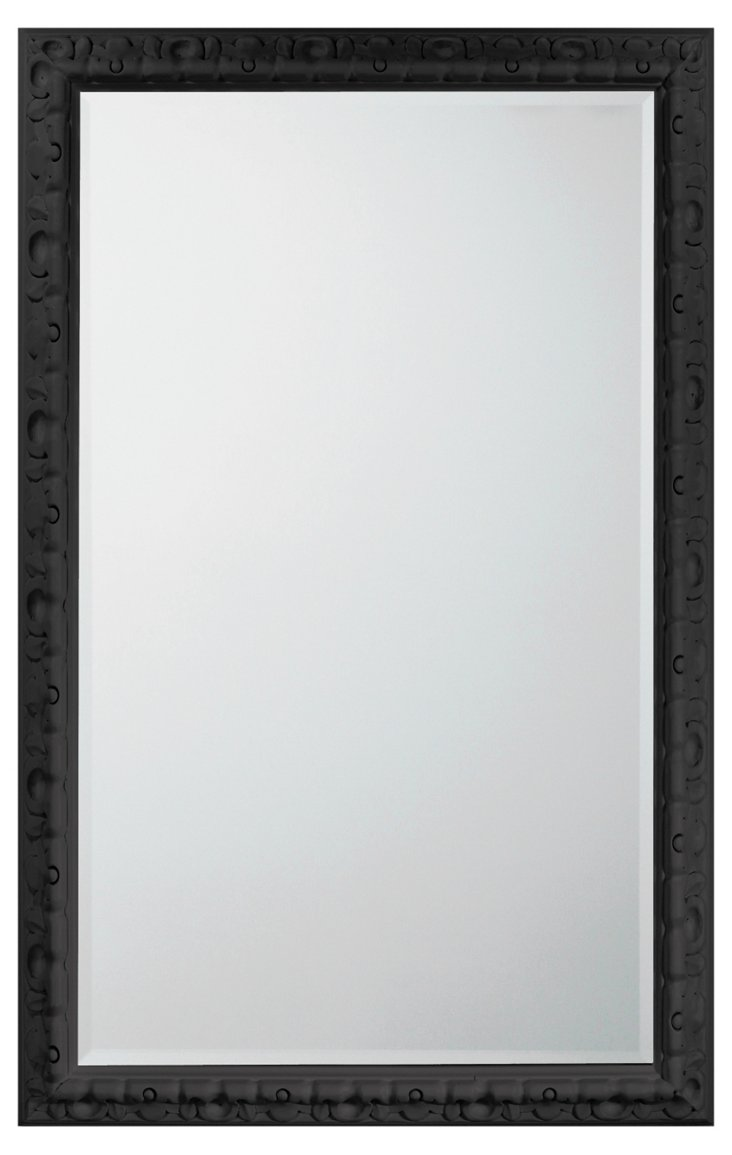 Spanish Carved Mirror, Black