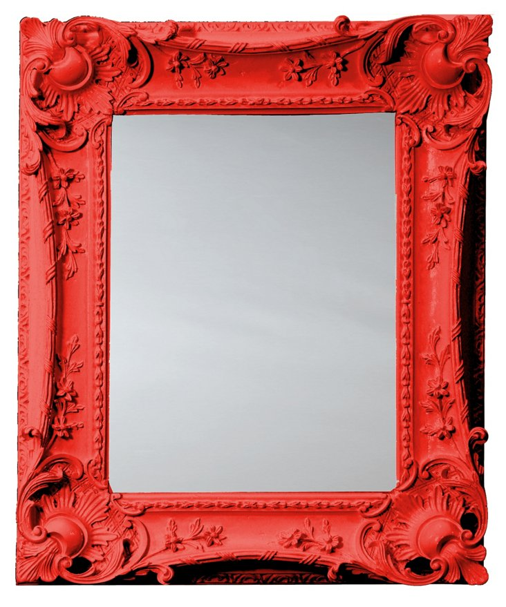 Louis XV Sweep Mirror, Red
