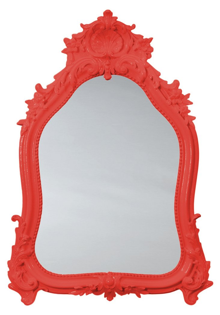 Shell Crown Mirror, Red