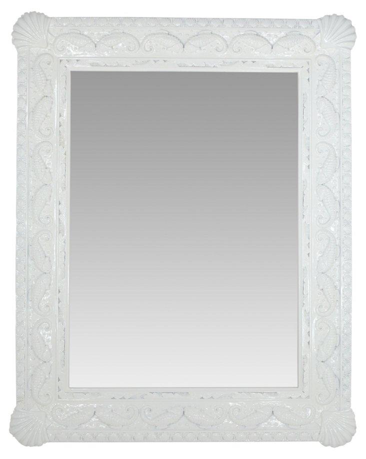 Seahorse Mirror, White