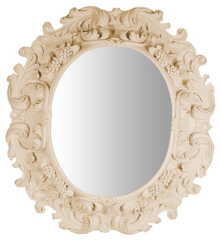 Lorraine Oval Mirror, Beige