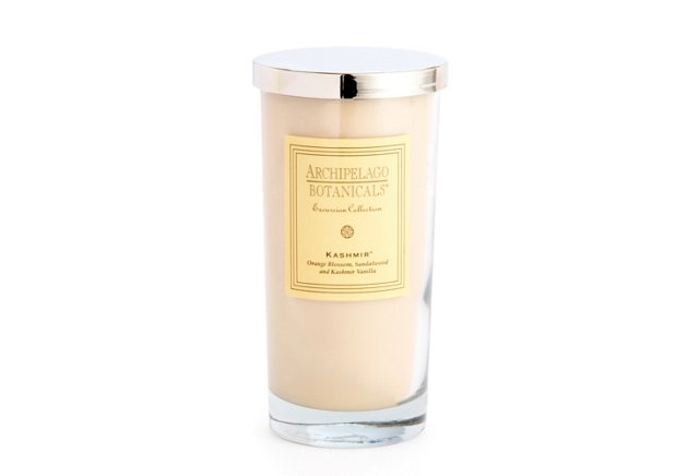 S/2 Kashmir Tall Glass Candles, Vanilla