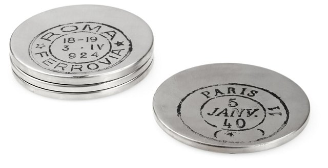 S/4 Postmark Etched Coasters