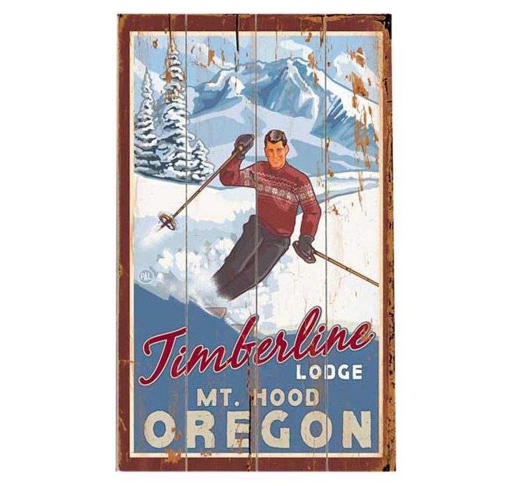 Mt. Hood Skier Wood Sign