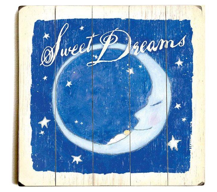 Sweet Dreams Wood Sign, Blue