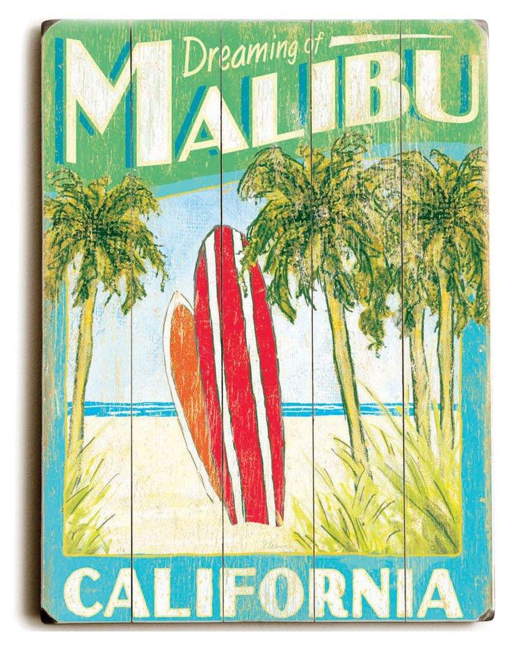 Malibu Surfboards Wood Sign