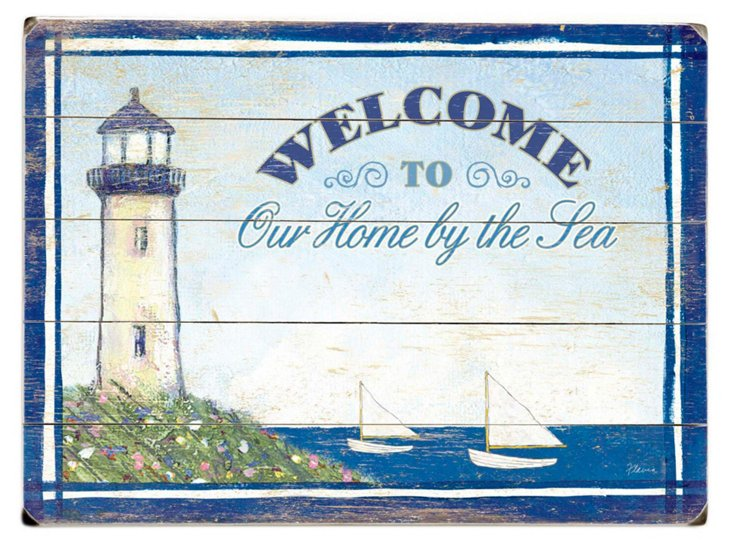 Our Home by the Sea Wood Sign