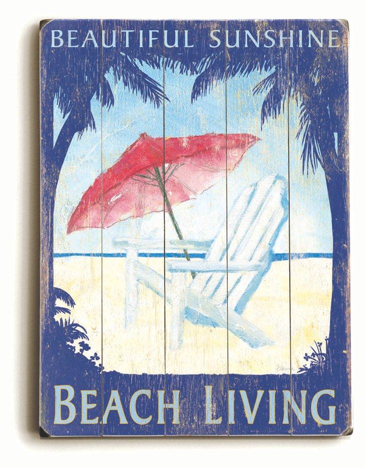 Beach Living Wood Sign