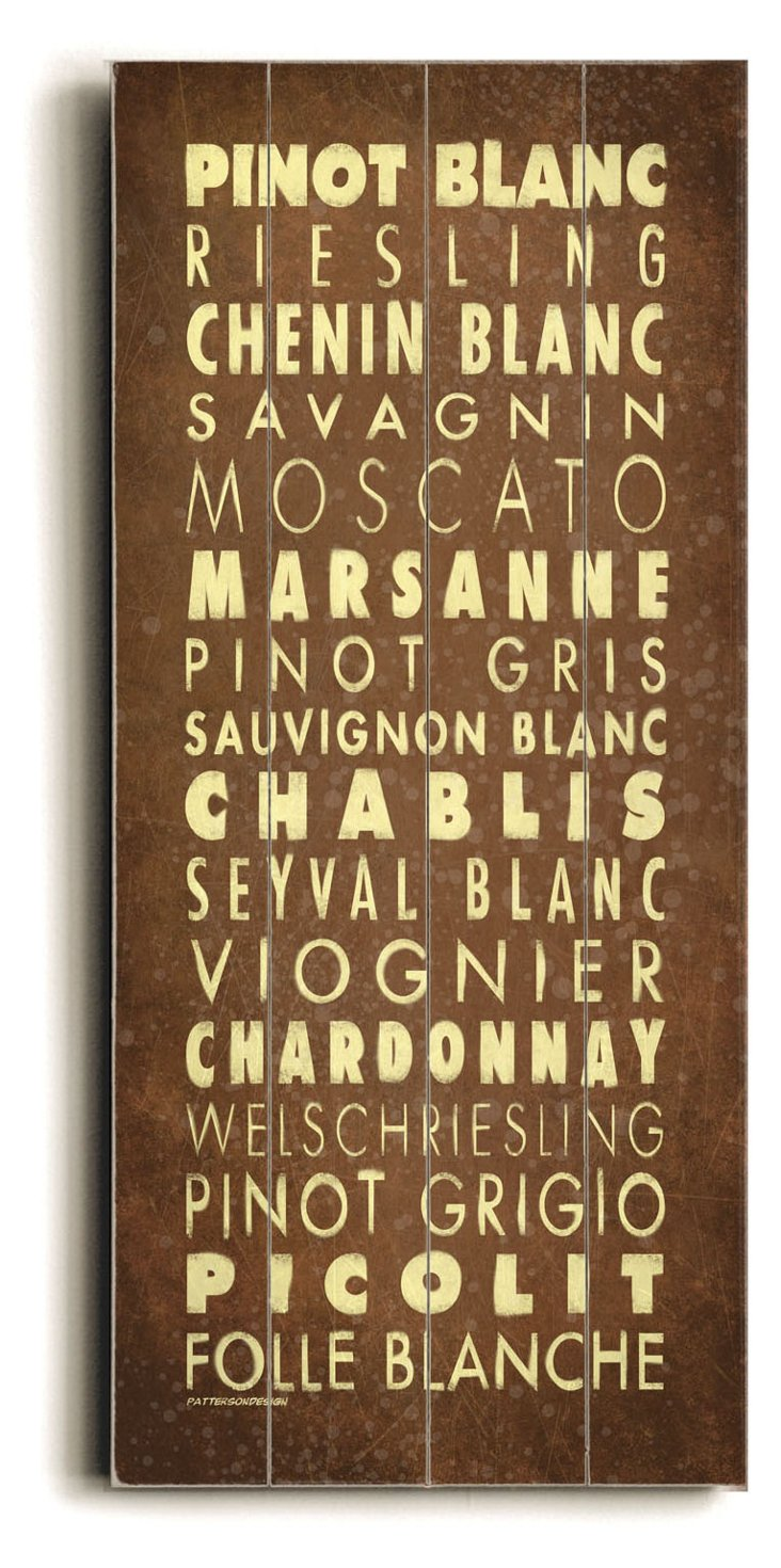 White Wines Wood Sign