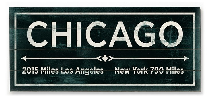 """""""Chicago"""" Wall Sign, Green"""