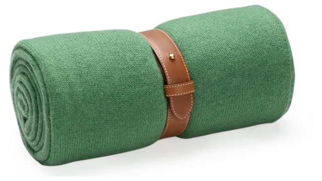 Cashmere Travel Throw w/ Strap, Green