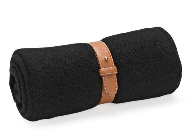 Cashmere Travel Throw w/ Strap, Black