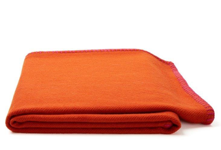 Contrast Stitch Throw, Orange/Pink