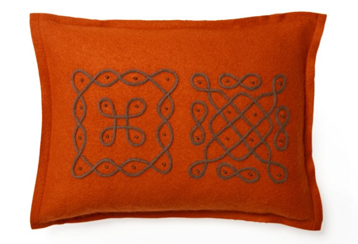 12x16 Travel Pillow, Orange/Brown