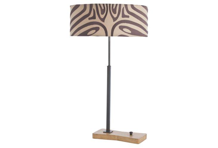 Owen  Iron/Natural Wood Lamp