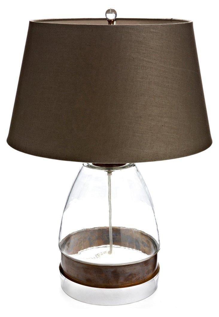 Jory Table Lamp, Brass/Glass