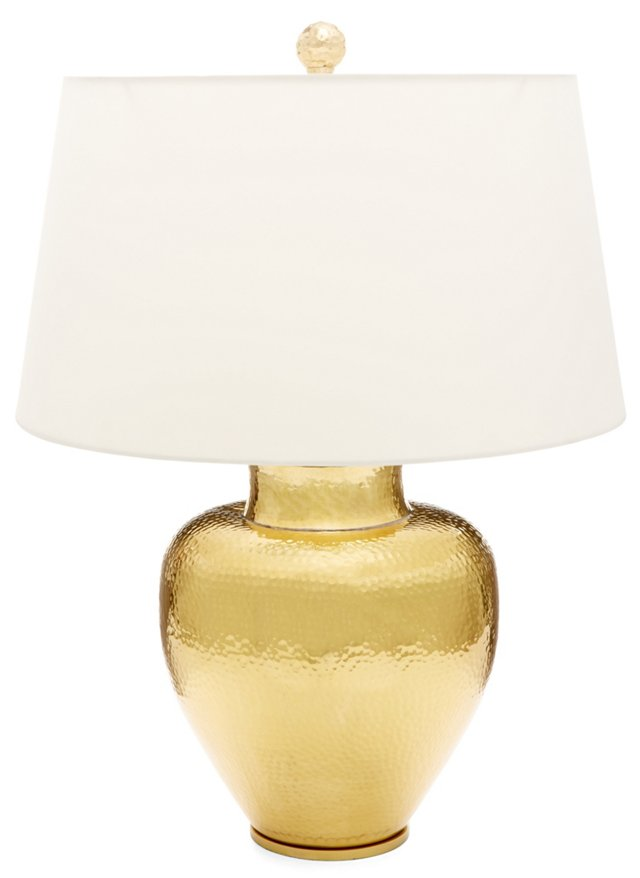 Hammered Table Lamp, Brass
