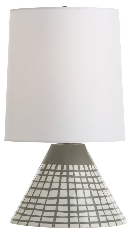 Ernie Porcelain Lamp, Painted Gray/White