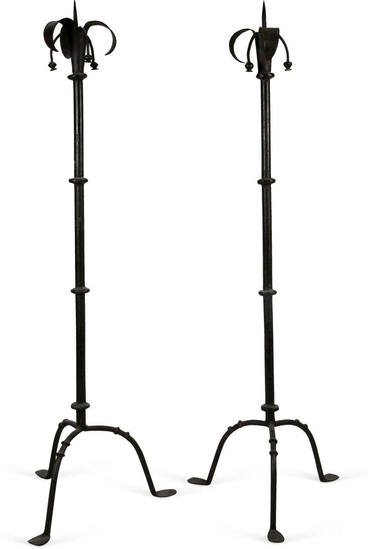 Iron Floor Candleholders, Pair