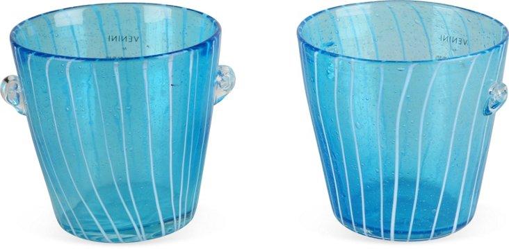 Murano Blue Glass Vases, Pair