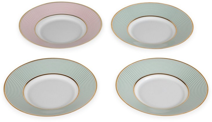Limoges Striped Plates, Set of 4