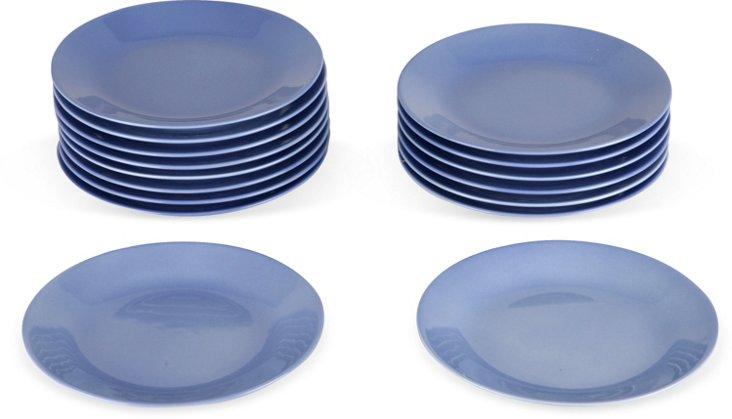 Limoges Blue Plates, Set of 16