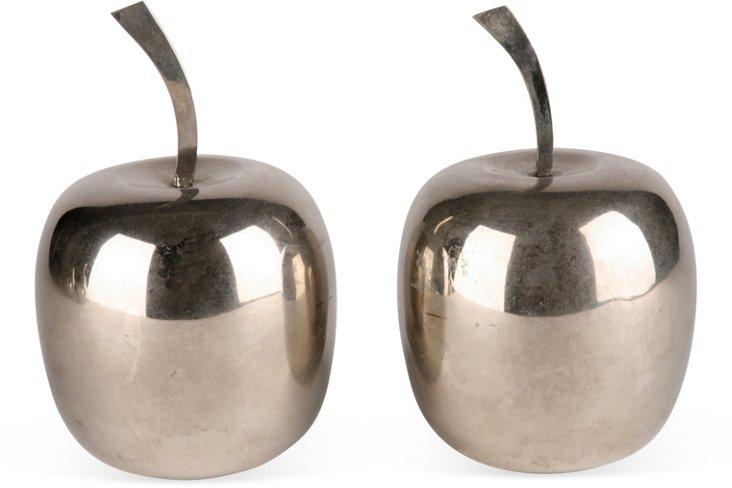 Silverplate Italian Apples, Pair
