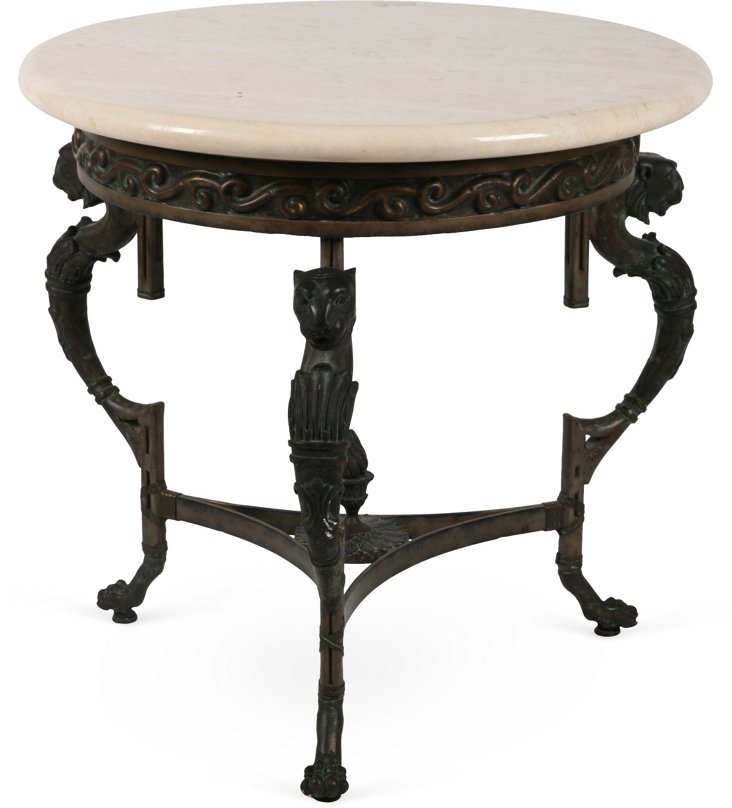 Neoclassical-Style Marble & Brass Table