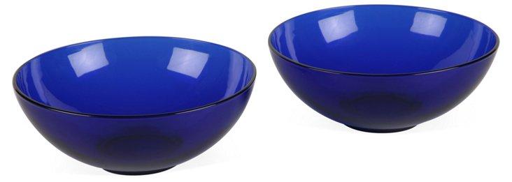 Cobalt Blue Glass Bowls, Pair