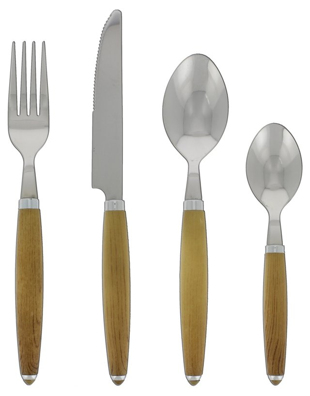 24-Pc Round Flatware Set, Wood