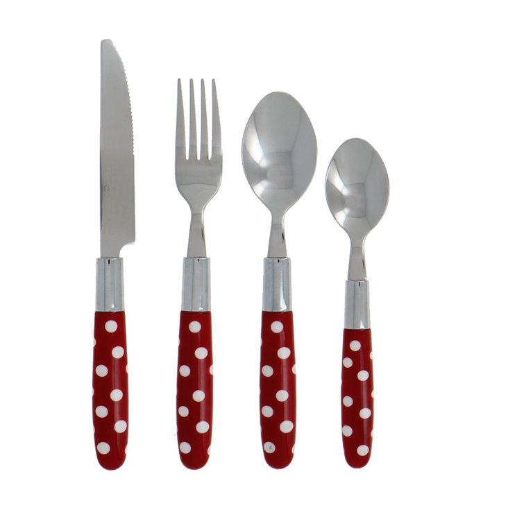 16-Pc Le Brun Flatware Set, Red/White