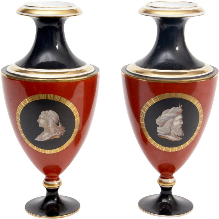 19th-C. Medallion Vases, Pair
