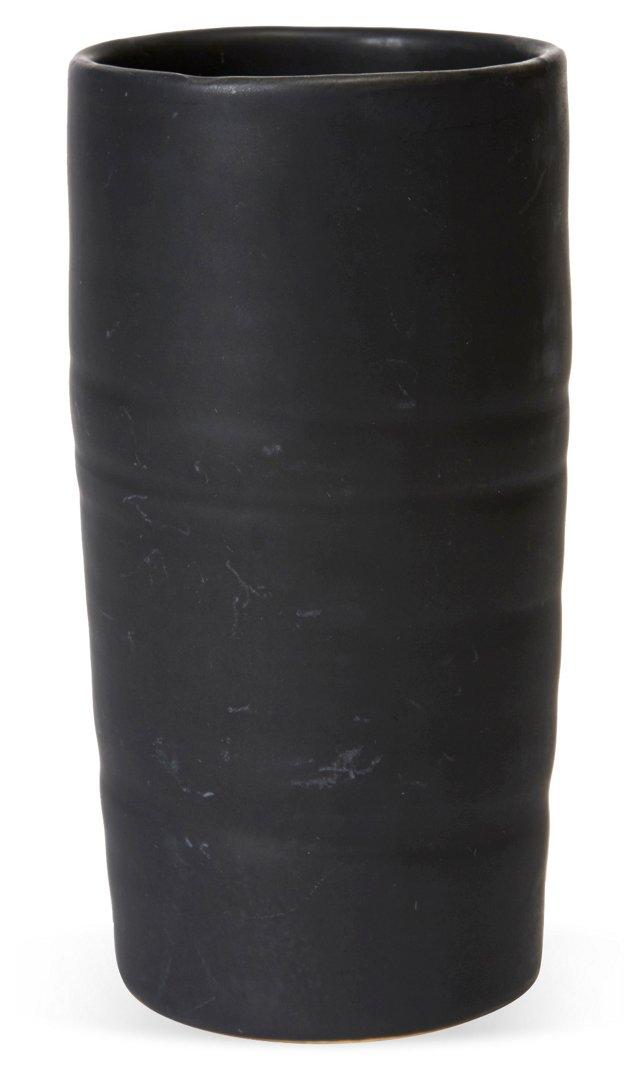 Black Ceramic Cylinder Vase