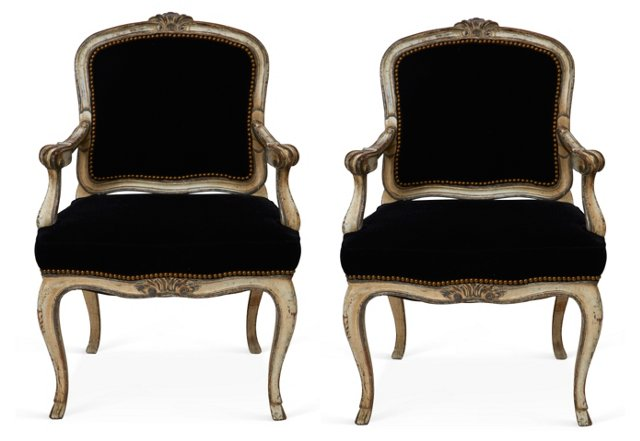 Carved Louis XV-Style Fauteuils, Pair