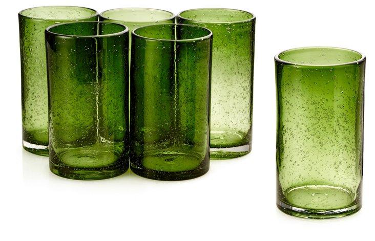 S/6 Iris Highball Glasses, Sage