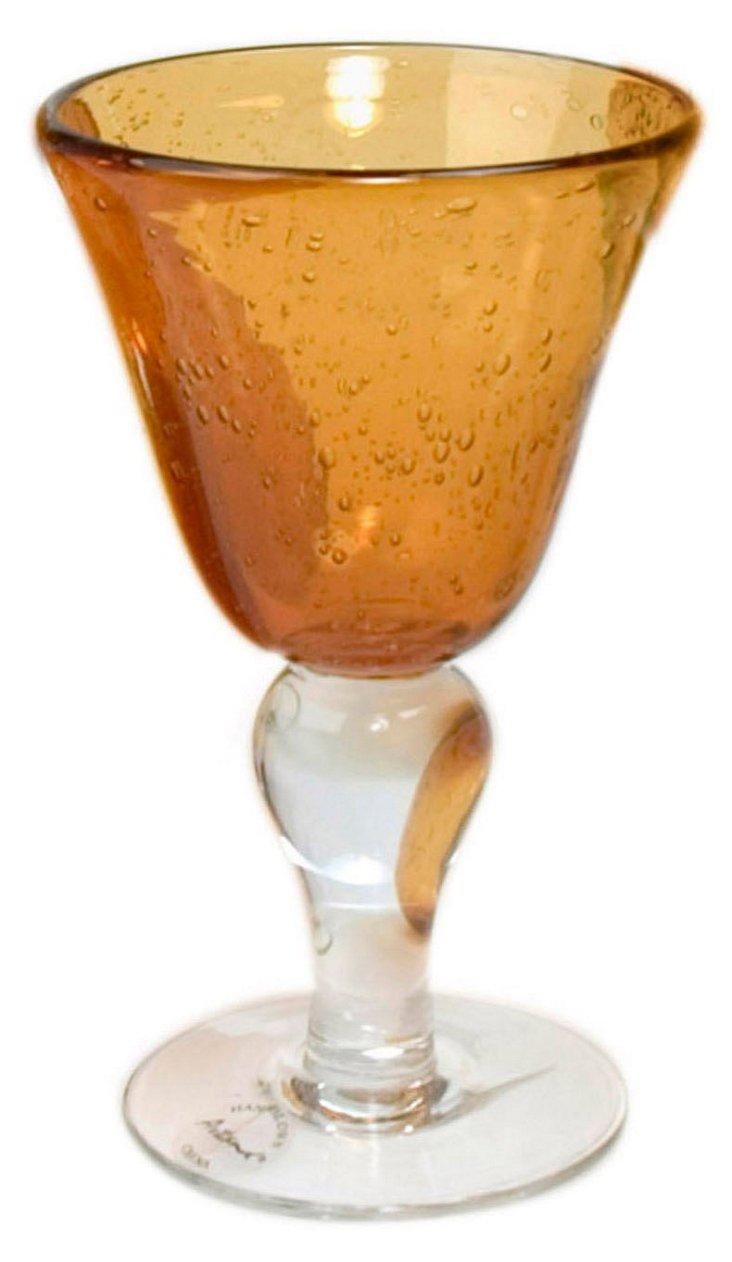 S/6 Iris Wine Glasses, Amber