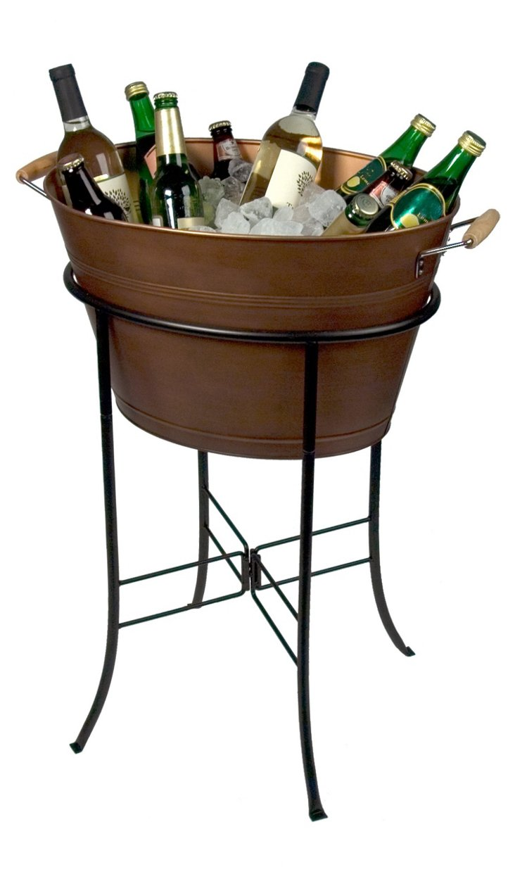 Oasis Party Tub & Stand, Antiqued Copper