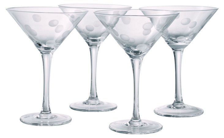 S/4 Polka-Dot Martini Glasses