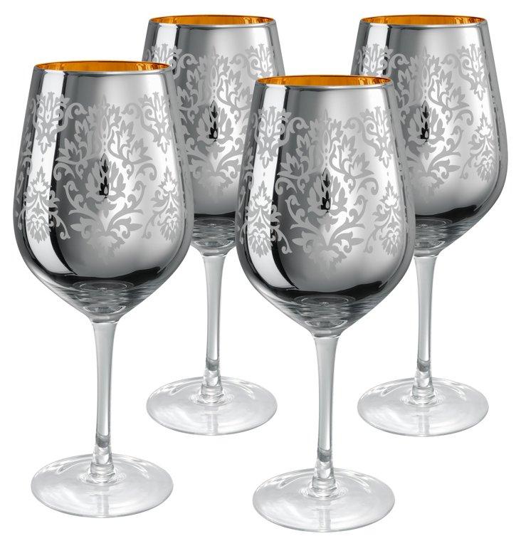 S/4 Brocade Goblets, Silver